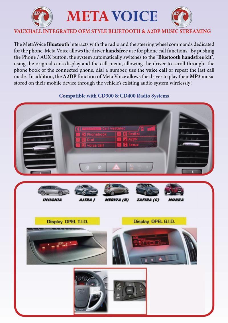 Vauxhall Opel Metavoice OEM Bluetooth Handsfree