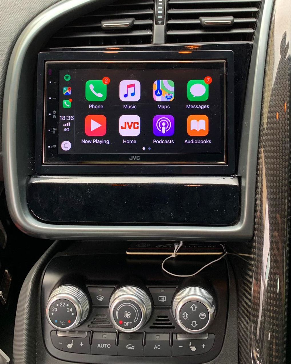 Audi R8 with new JVC apple car play and Digital Radio