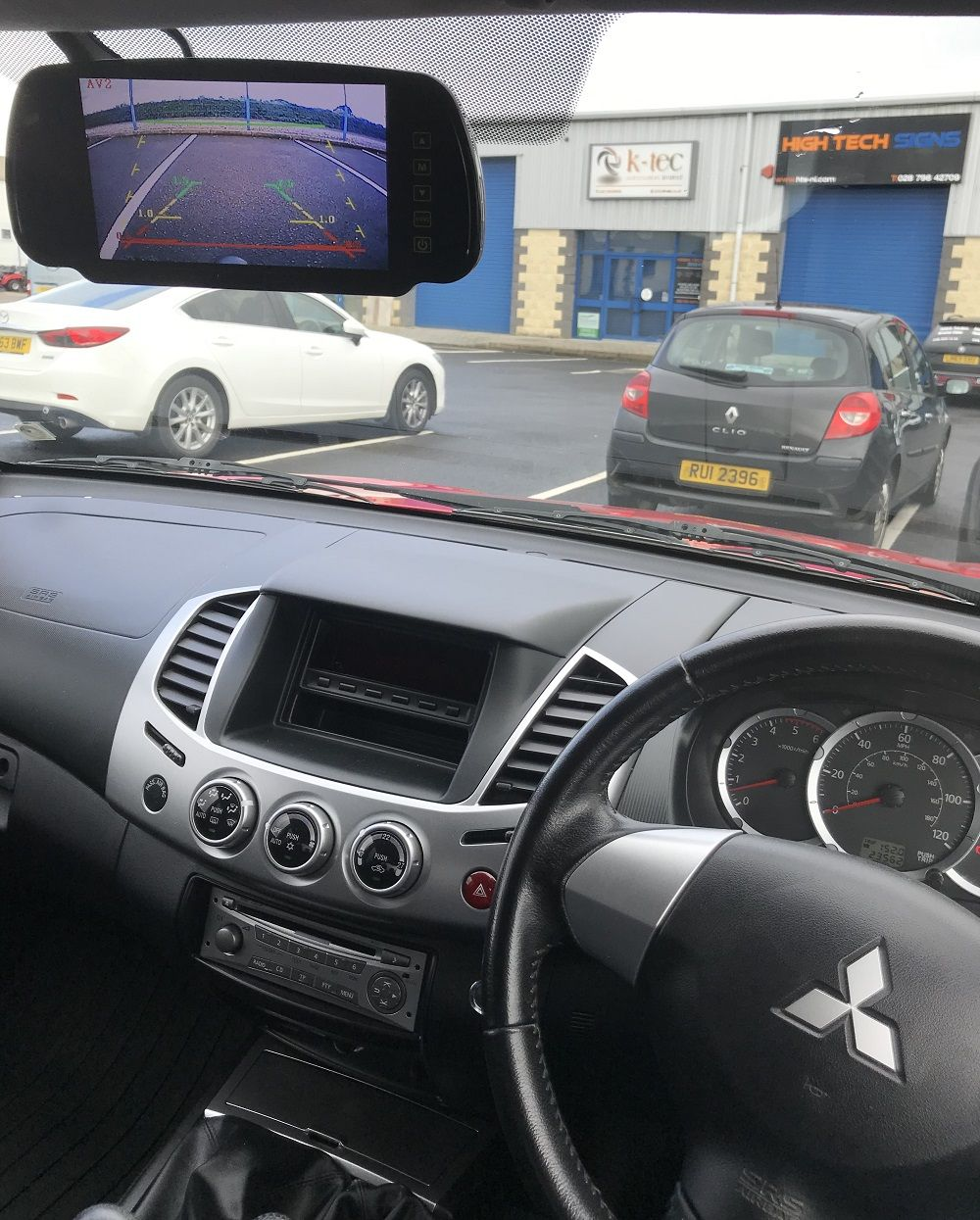Mitsubishi L200 with reverse camera installed and mirror monitor