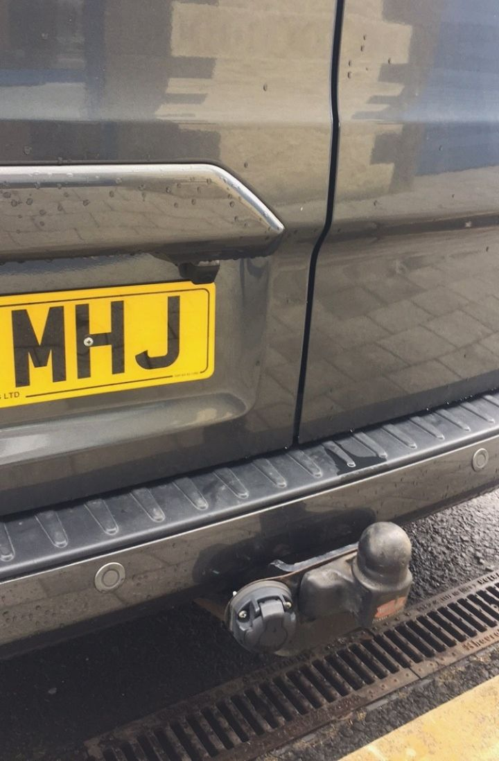 Ford transit with reverse cam fitted above number plate